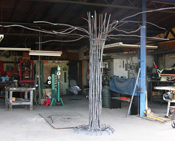 The Mighty Owl Oak, a piece for Litchfield Park Elementary School, growing at Kevin Caron Studios