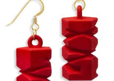 Totem Earrings, 3D printed resin