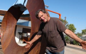 Artist Kevin Caron getting ready to load his monumental sculpture Wherever You Go, There You Are - Kevin Caron