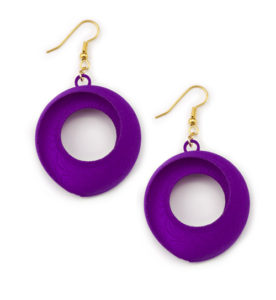 Torus Earrings, 3D printed art jewelry by Kevin Caron.