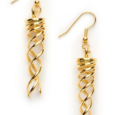Campfire Earrings, brass