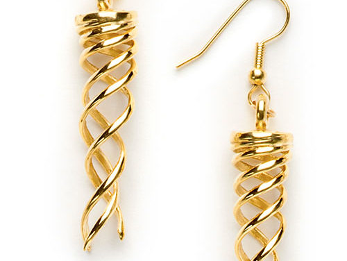 Campfire Earrings, brass