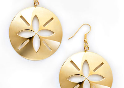 Sand Dollar Earrings, brass