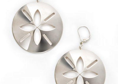 Sand Dollar Earrings, silver
