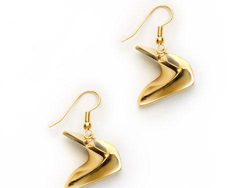 Mobius Earrings, brass