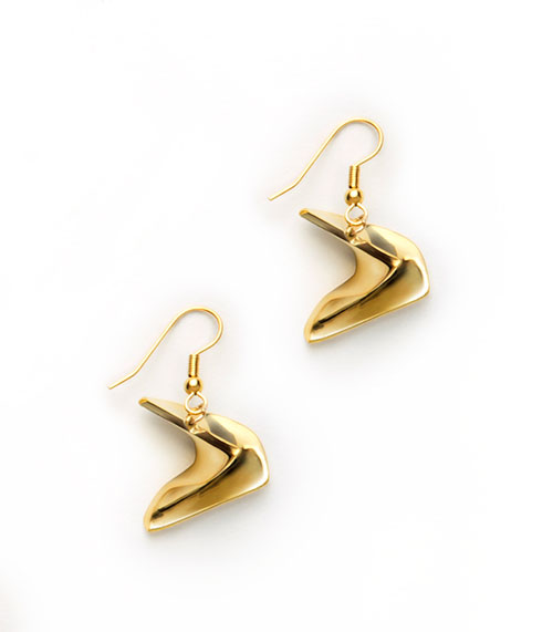 Mobius Earrings, brass