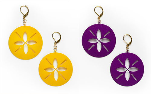 Sand Dollar Earrings, 3D printed resin