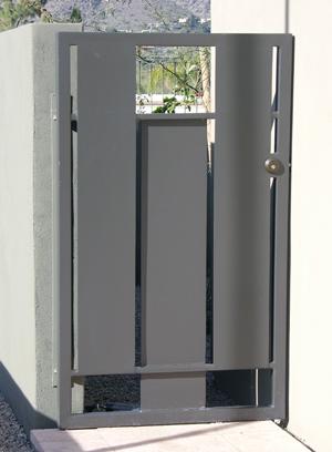 Peekaboo, a steel gate by Phoenix artist Kevin Caron.