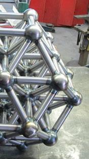 A large truncated octahedron sculpture by artist Kevin Caron