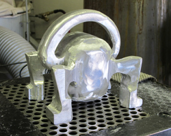 aluminum sculpture by Kevin Caron in process