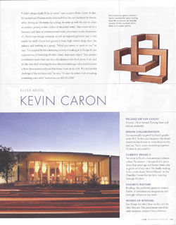 Luxe magazine Style Maker article about Kevin Caron