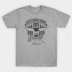 Kevin Caron T-shirt, gray with Let's Make Some Sparks