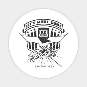 This is a magnet with Let's make some sparks! - Kevin Caron
