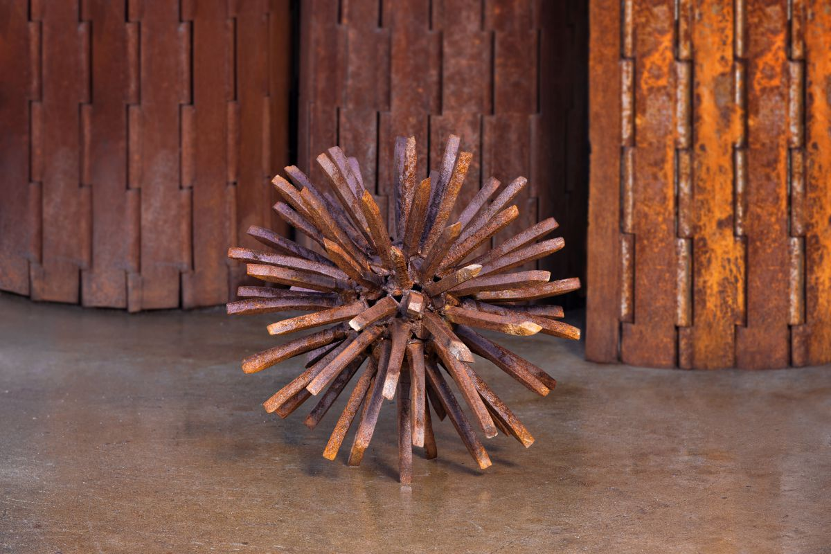 Sweet Gum Ball, a steel railroad spike sculpture by Kevin Caron.