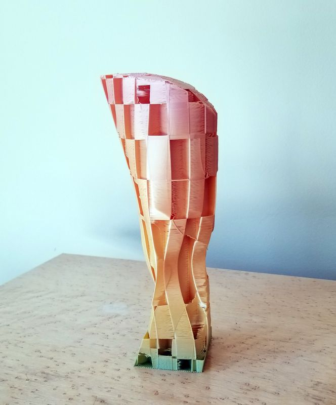 Rainbow He, a 3D printed fine art sculpture by Kevin Caron.