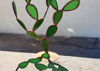 Desert Queen, a glass & steel contemporary cactus sculpture - Kevin Caron