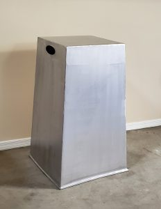The pedestal (before powder coating) for SoundWaves, a 3D-printed & metal contemporary sculpture - Kevin Caron