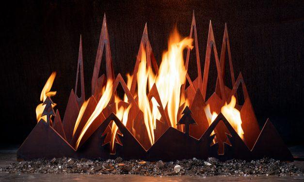 Snowy Peaks fireplace sculpture