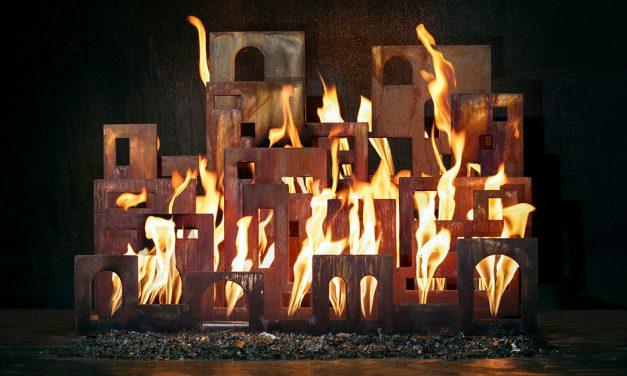 Urban Pueblo fireplace sculpture