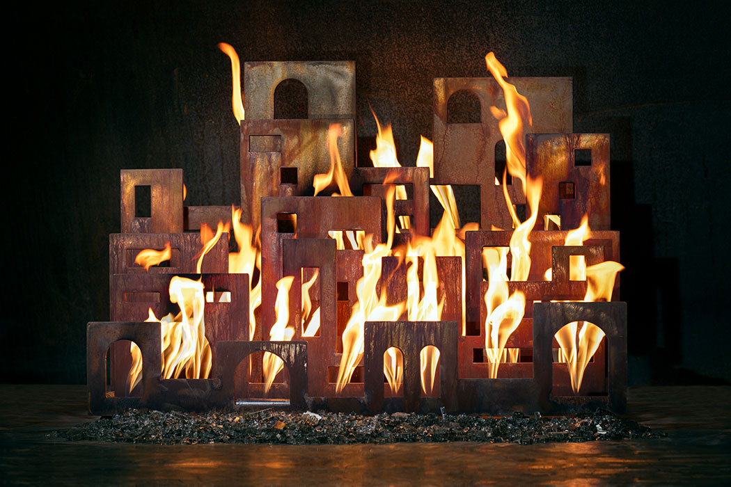 Urban Pueblo fireplace sculpture