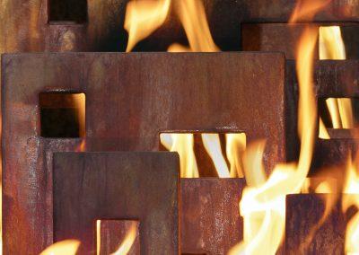 Urban Pueblo, a steel fireplace sculpture designed by Kevin Caron - Kevin Caron